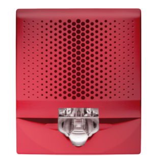 G4AVRF-SP Sirena-Estrobo de muro con Base, 15-110cd, Rojo, etiqueta FUEGO