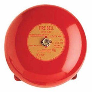 "439D-6AW-R Campana de alarma contra incendios, 6 """"(150 mm), vibrante, diodo, 24 VCC, rojo."